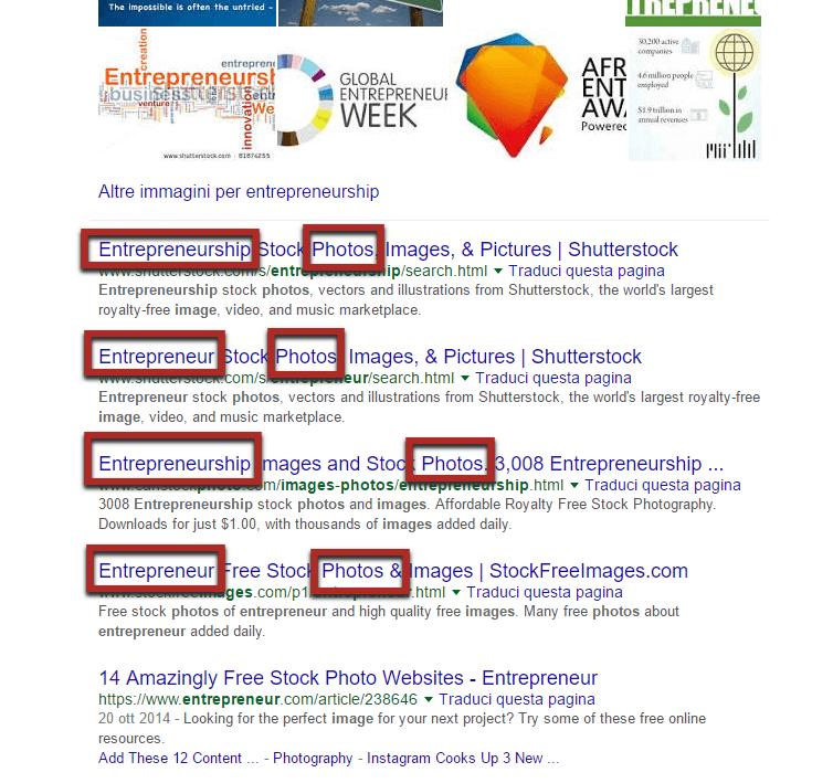 """titoli che appaiono nella prima pagina e che hanno come parole chiave """"photo for entrepreneurship"""""""