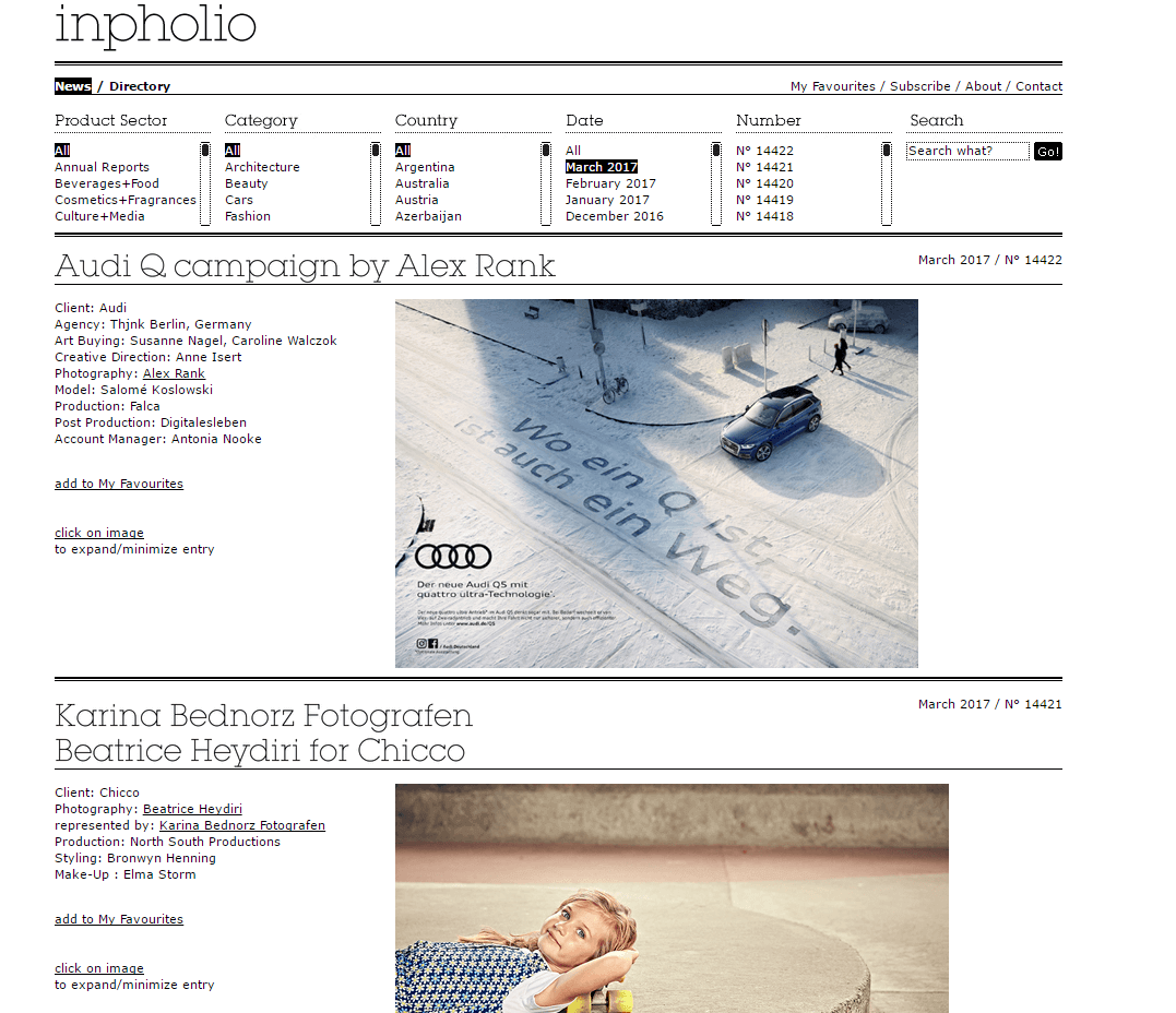 inpholio home page portfolio fotografico