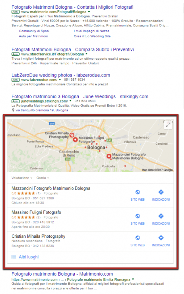 google serp fotografo matrimonio bologna screenshot