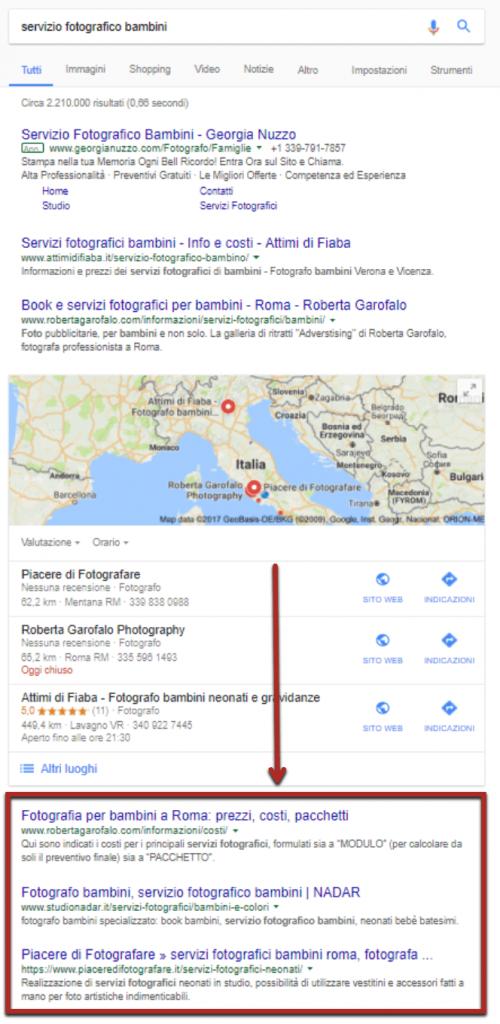 ricerca su google di un servizio fotografico per bambini google serp