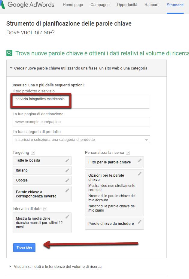 servizio fotografico matrimonio google adwords