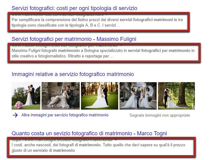 servizio fotografico matrimonio meta description